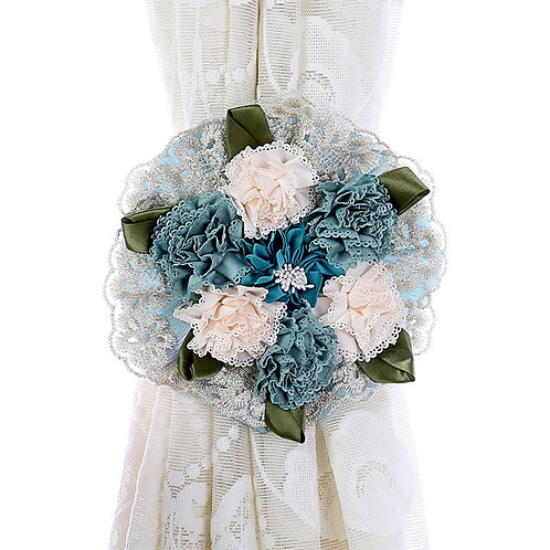 WCIC  Blue Fabric Curtain Strap With Delicate Tassels and Beautiful Fake Flower