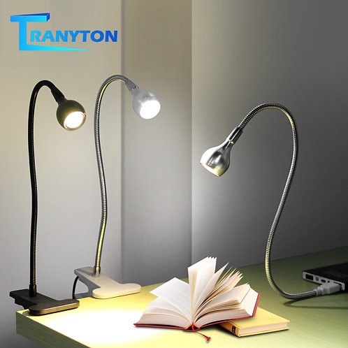 USB Power Clip Holder LED Book Light Desk Lamp 1W Flexible LED Reading Book Lamp
