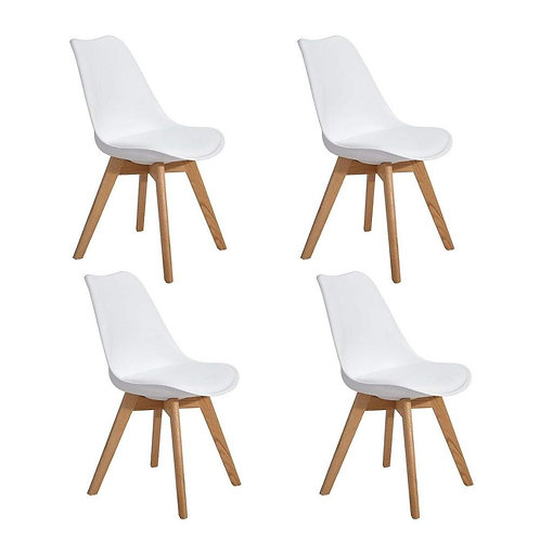 EGGREE Set of 4pcs Tulip Padded Dining Chair With Oak Wood Legs