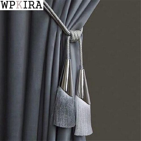 2Pcs/Pair Curtain Brush Tiebacks Tassel Fringe Hanging Belt Balls