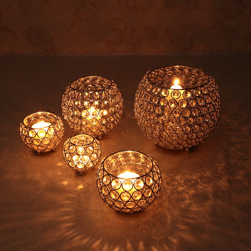 Metal Glass Candle Lantern Holders Moroccan Crystal Candlesticks
