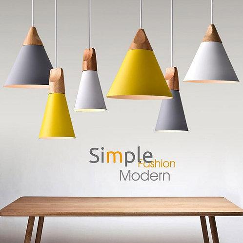 Modern Wood Pendant Lights Lamparas Colorful Aluminum Lamp Shade