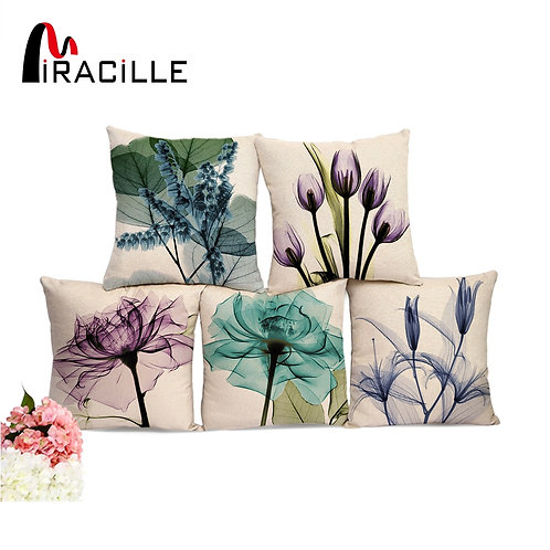 "Miracille Square 18"" Cotton Linen Watercolor Flowers Printed Cushions"
