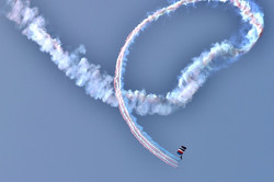 smoke trail skydiver