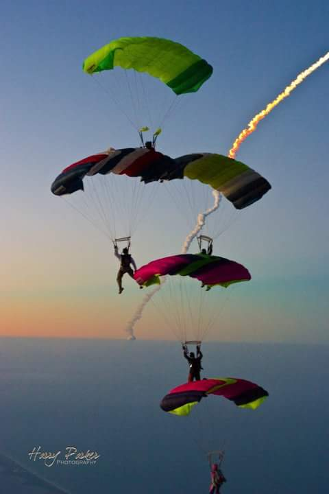 skydiver tree in air