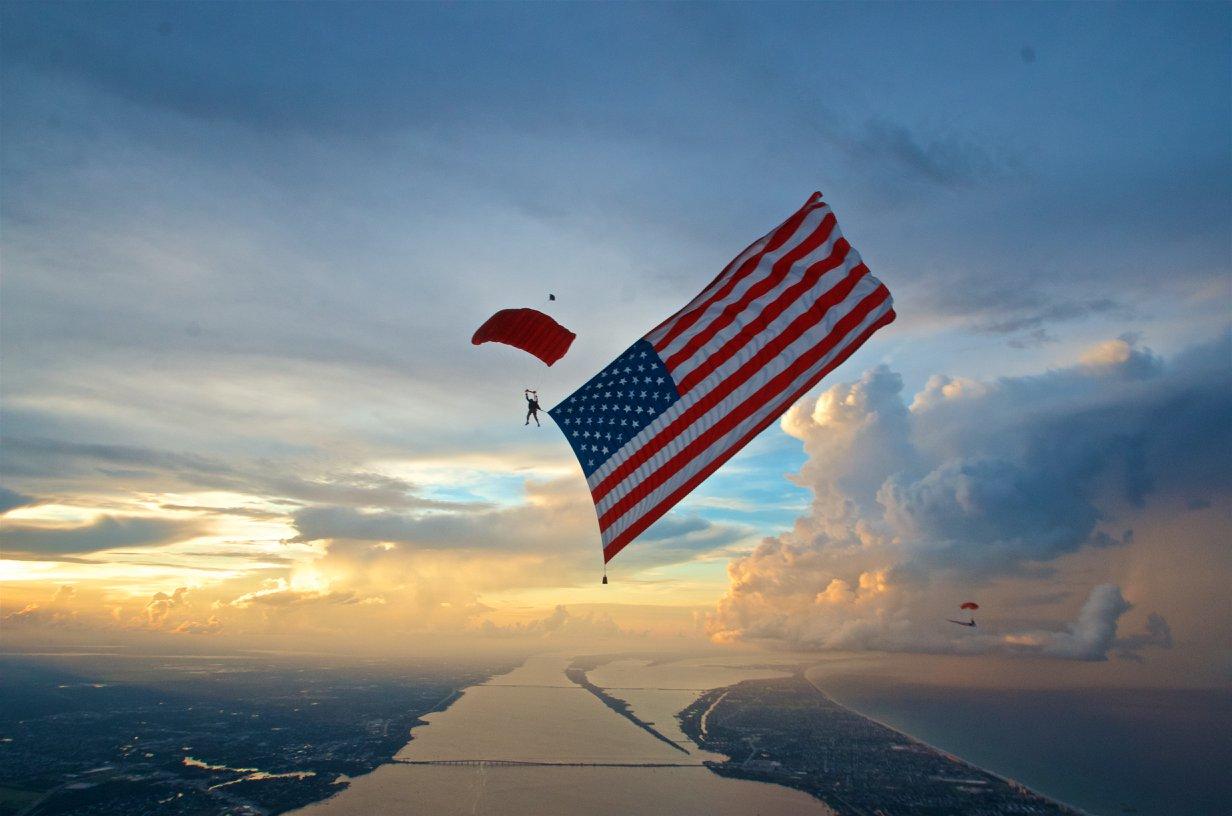 Flag jump skydiver Patriotic