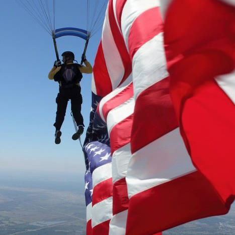 USA patriotic flag skydiver