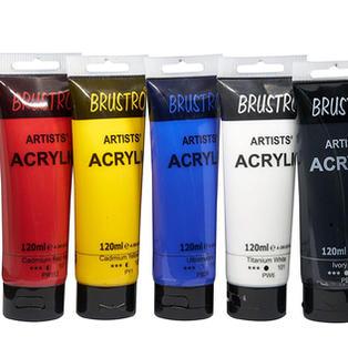 Brustro Artists' Acrylic 120ml, Pack of 5 Primary Shades (Titanium White, Cad Yellow, Ultramarine, Cadmium Red & Ivory Black)