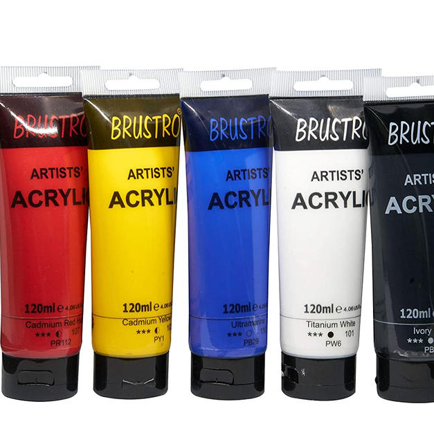 Brustro Artists' Acrylic 120ml, Pack of 5 Primary Shades (Titanium White, Cad Yellow, Ultramarine, Cadmium Red & Ivory Black)