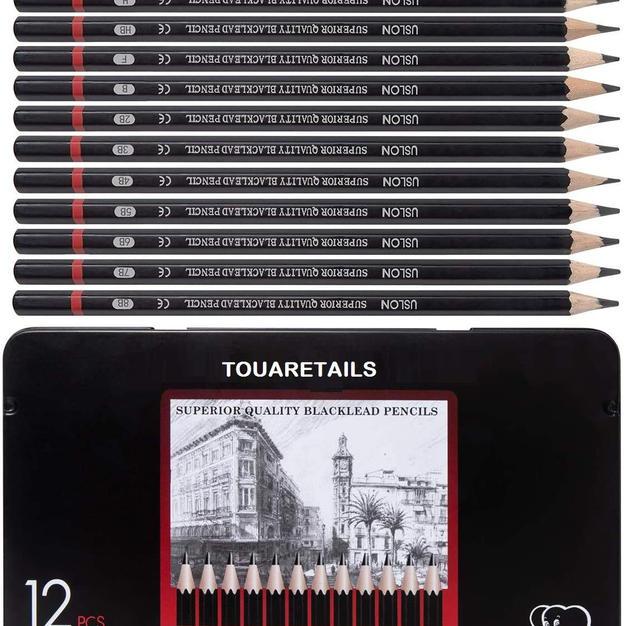 TOUARETAILS 12 Pcs/Set Professional Art Sketching Drawing Writing Pencil B 2B 3B 4B 5B 6B 7B 8B HB H 2H F Pencil Stationery Supplies with Storage Box- Black