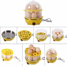 RONTENO Stainless Steel Double Egg Boiler 14 Nos Eggs Boiling Electric Cooker - 1Pc (Assorted Color)V ₹ 599.00