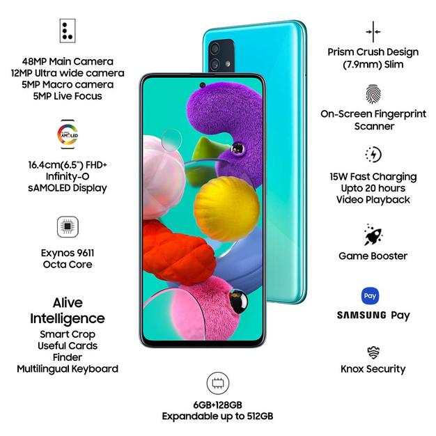 Samsung Galaxy A51 (Blue, 6GB RAM, 128GB Storage) ₹ 22,999.00