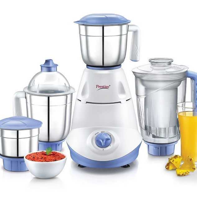 Prestige Iris 750 Watt Mixer Grinder with 3 Stainless Steel Jar + 1 Juicer Jar (White and Blue) ₹ 2,799.00