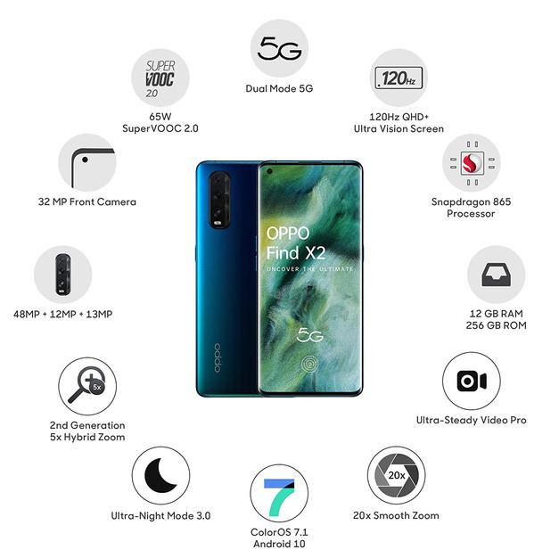 OPPO Find X2 (Ocean, 12GB RAM, 256GB Storage)    Price:₹ 64,990.00