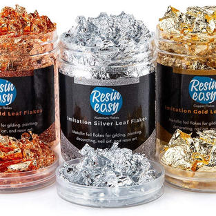 Resin Easy Gold Flakes for Resin - 3 Bottles Metallic Foil Flakes 15 Gram Flakes a Set - Imitation Gold, Silver and Copper Foil Flakes for Resin, Nail Arts, Painting, Gilding and, Crafts