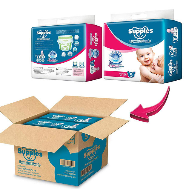 Supples Baby Diaper Pants, Monthly Mega-Box, Small, 156 Count ₹ 955.00