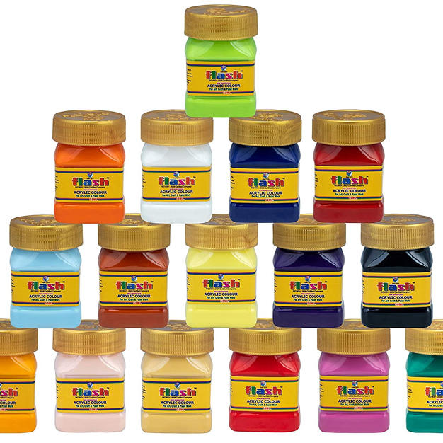 Flash Professional Acrylic Paint Set,16 Colors (50 ml, 1.7 fl oz Each) Art Supplies Paint Set with High Pigment Strength, Non Fading for Indoor/Outdoor, Non Toxic, Multi-Surface Paint for Pro Artist, Hobby Painters & Kids