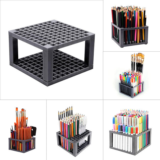 Kurtzy 96 Holes Holder Pen Pencil Paint Brush Organizer for Students Office Desk Supplies (Grey)