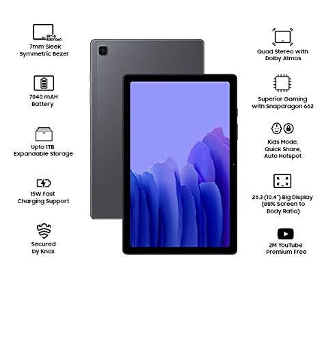 Samsung Galaxy Tab A7 (10.4 inch, RAM 3 GB, ROM 32 GB, Wi-Fi-only), Grey     Price:₹ 16,999.00