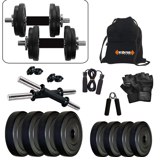 Kore PVC-DM Combo (4 Kg - 26 Kg) Home Gym and Fitness Kit with Gym Accessories ₹ 799.00
