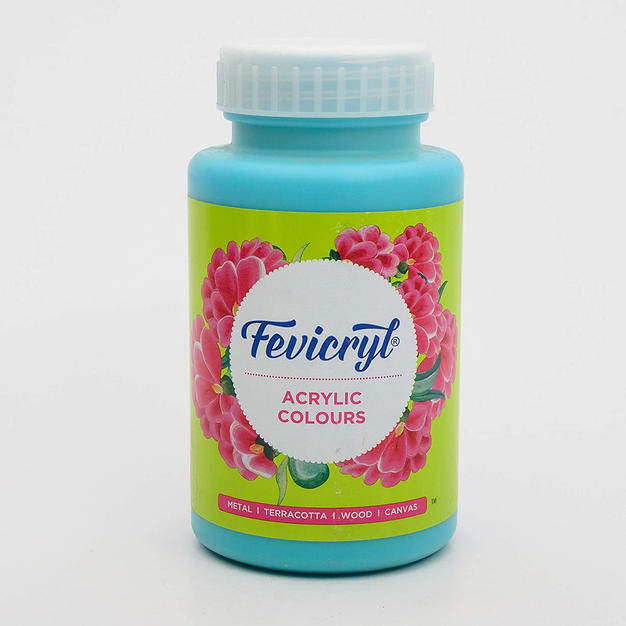 Pidilite Fevicryl Acrylic Colour, Teal Blue Acrylic Paint, 500ml, Art and Craft Paint, DIY Paint, Rich Pigment, Non-Craking Paint for Canvas, Wood, Leather, Earthenware, Metal