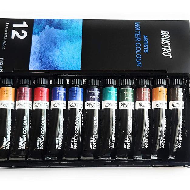 BRUSTRO Artists' Watercolour Set of 12 Colours X 12ML Tubes:
