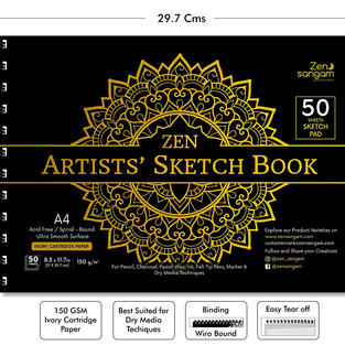 Zen Sangam Artists' A4 Sketch Pad Drawing Notebook (Spiral), 50 Sheets(100 Pages) 21x29.7cm, 150 GSM Acid Free Ivory Cartridge Paper for Pencils,Fineliners,Crayons,OilPastels,Light Watercolour-Mandala