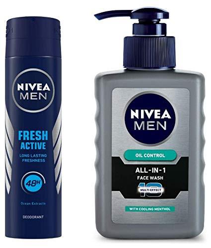 NIVEA Men Deodorant, Fresh Active Original, 150ml And NIVEA Men Face Wash, Oil Control, 10x Vitamin C, 150ml ₹ 388.00