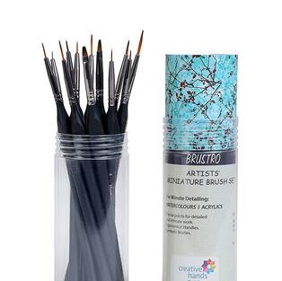 BRUSTRO Artists' Watercolour & Acrylic Miniature Brush Set of - 12