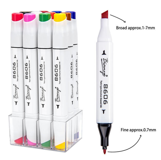 Bianyo Dual Tip Art Marker Pen Set- Fine and Chisel Nibs, 24 Colors Artist Permanent Coloring Highlighters