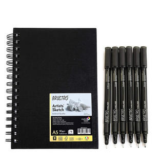 Brustro Professional Pigment Based Fineliner - Pack of 6 (Black) with Artist Sketch Book 110 GSM A5 Wiro Journal (156 Pages)