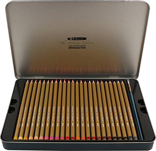 KABEER ART Artist Quality 48 Water Color Water Soluble Pencil Set In Metal Tin Case