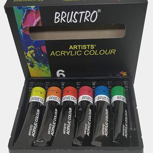 Brustro Artists Acrylic Colour Set of 6 Fluorescent Colours x 12ml Tubes