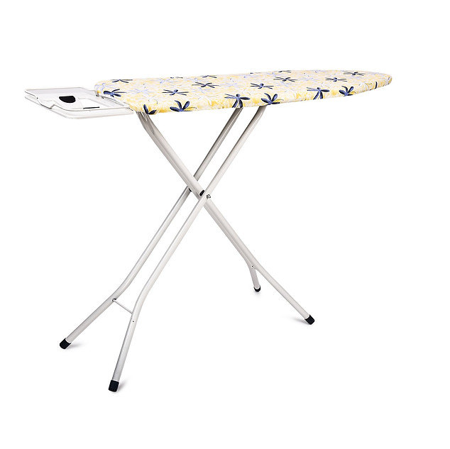 PAffy Premium Metal Ironing Board Table - Foldable - with Grilled Iron Holder - White