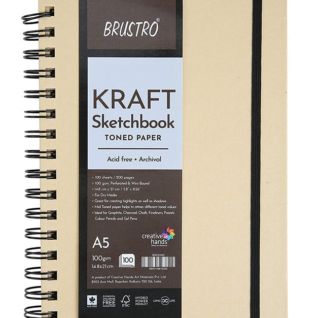Brustro Toned Paper - Kraft Sketchbook, Wiro Bound, Size A5, 100GSM (100 Sheets) 200 Pages