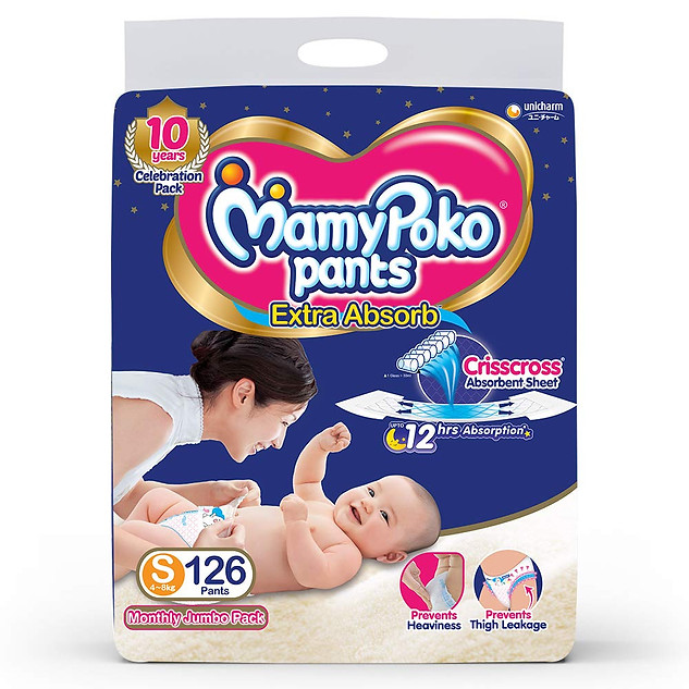 MamyPoko Pants Extra Absorb Diaper, Small (126 Count) ₹ 1,049.00