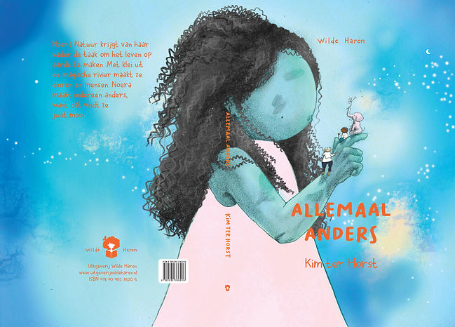Full book cover with an illustration of a blue, girl-ish creature holding an elephant an two kids on her hand.