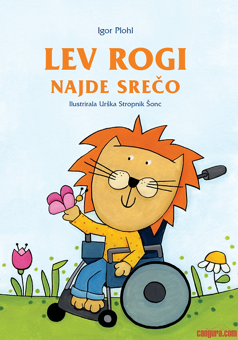 Book cover with an illustration on a lion on a wheel chair and a butterfly on its paw.