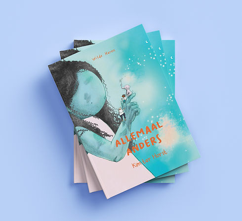 Book cover with an illustration of a blue, girl-ish creature holding an elephant an two kids on her hand.