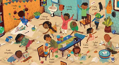 Book illustration of several brown skinned children doing different activites, such as playing, painting, folding paper into shapes.