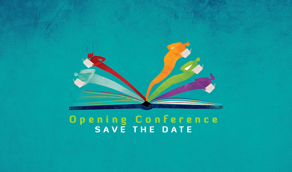 """Logo of Every Story Matters Project, an illustration of an open book where some of the pages are human shaped painted with different colors. Below the logo a heading follows that reads """"Opening Conference - Save the date""""."""