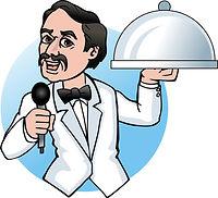 singing waiter mascot