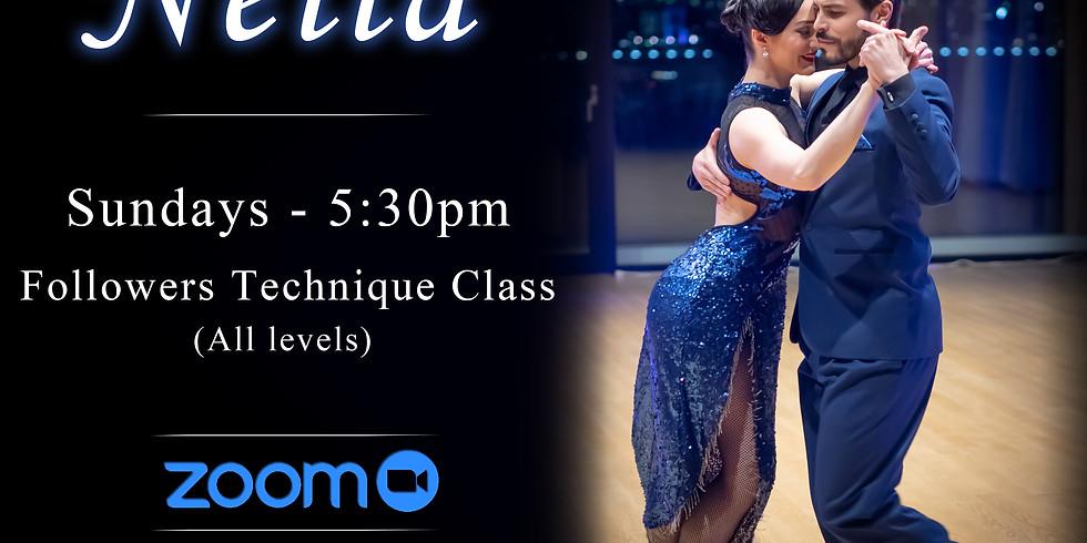 FOLLOWERS Online Argentine tango class (live on Zoom) Dec 20 - 5:30pm PST - Followers technique class