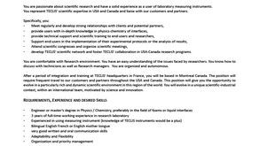 Nice Opportunity for a Scientist in North America