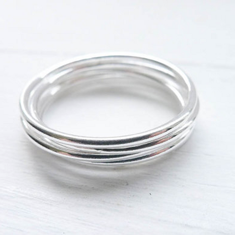 Thin Wispy Stacking Ring - Sterling Silver