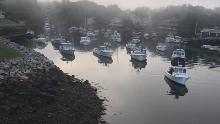 Fog rolls into Perkins Cove Ogunquit ME