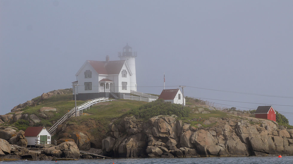 Nubble Lighthouse as the Fog Rolls in Note Cards