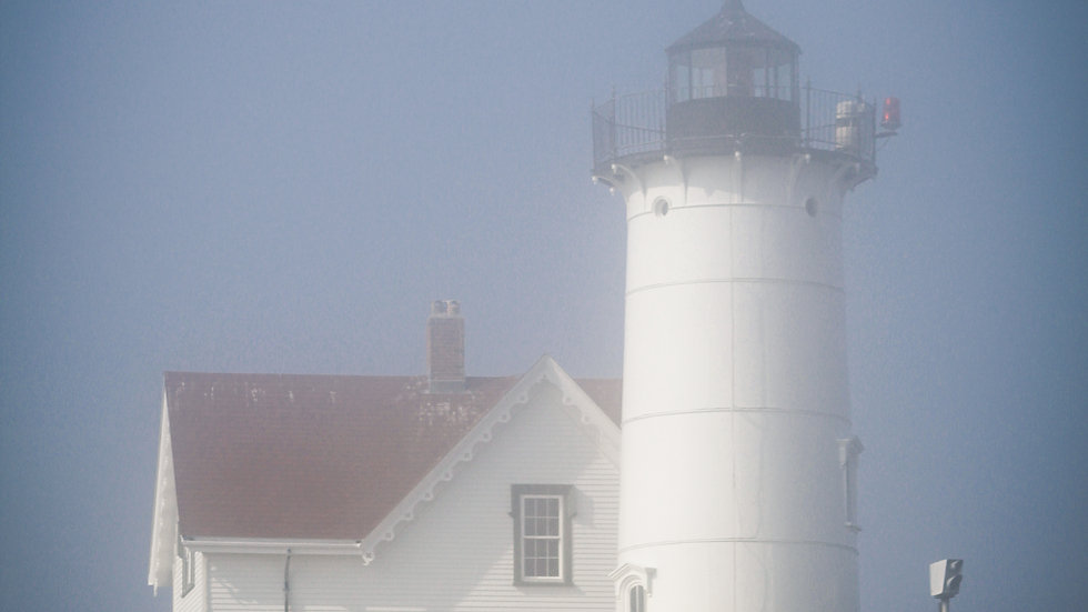 Nubble Lighthouse in the Fog Note Cards