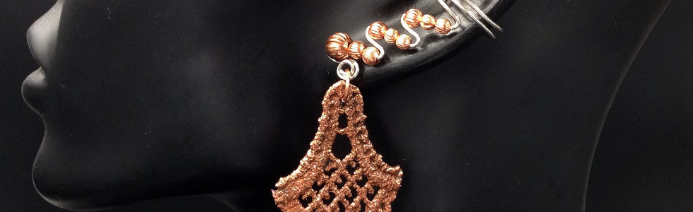 sterling and copper ear cuffs with drops