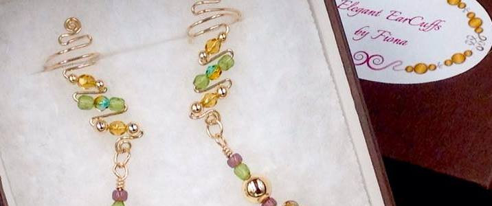 Gold and green ear cuffs